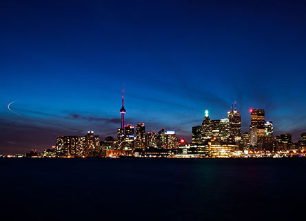 toronto skyline tourné la nuit