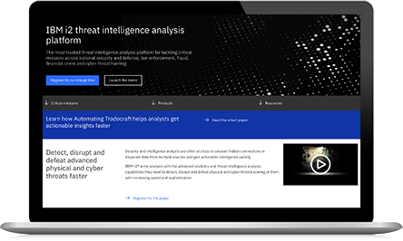 Zrzut ekranu ze strony IBM i2 threat intelligence analysis platform