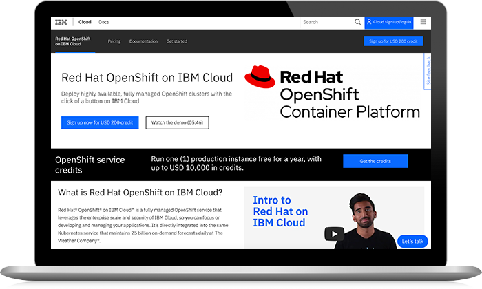 Capture d'écran de Red Hat OpenShift on IBM Cloud