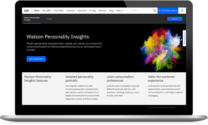 Watson Personality Insights screenshot