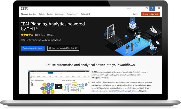 Capture d'écran d'IBM Planning Analytics
