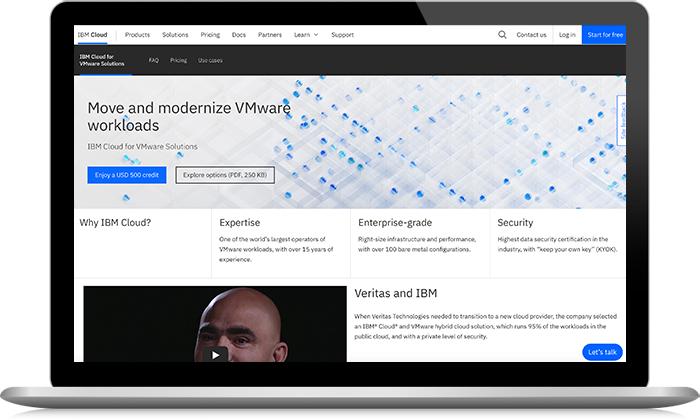 Capture d'écran des solutions IBM Cloud for VMware