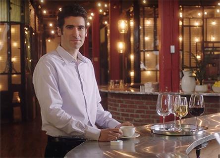 Patrick Ruch beside wine glasses