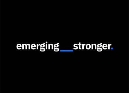 emerging stronger logo against a black background
